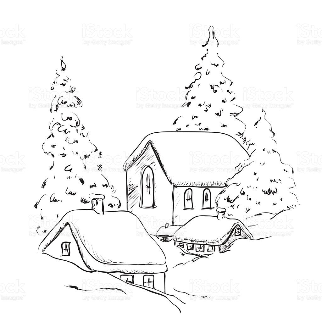 1024x1024 Landscape Christmas Tree Drawing Merry Christmas Amp Happy New