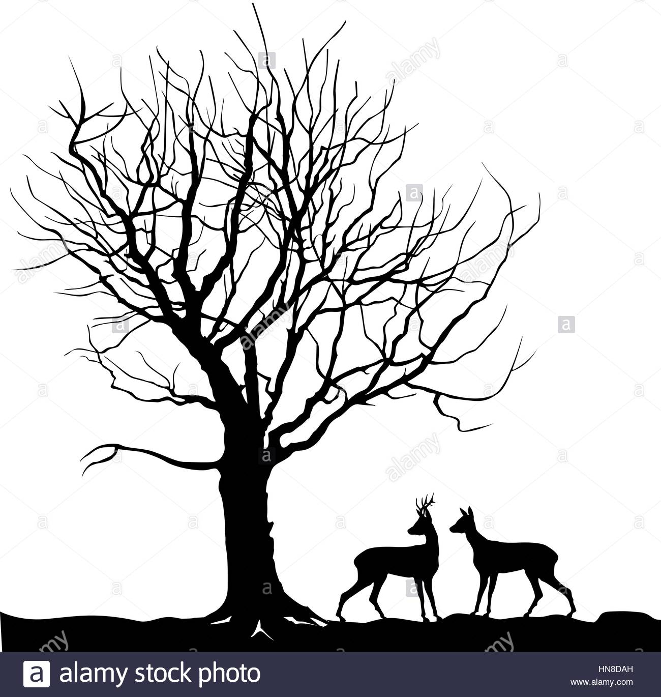 1300x1370 Animal Over Tree Forest Landscape With Deer. Abstract Vector Stock