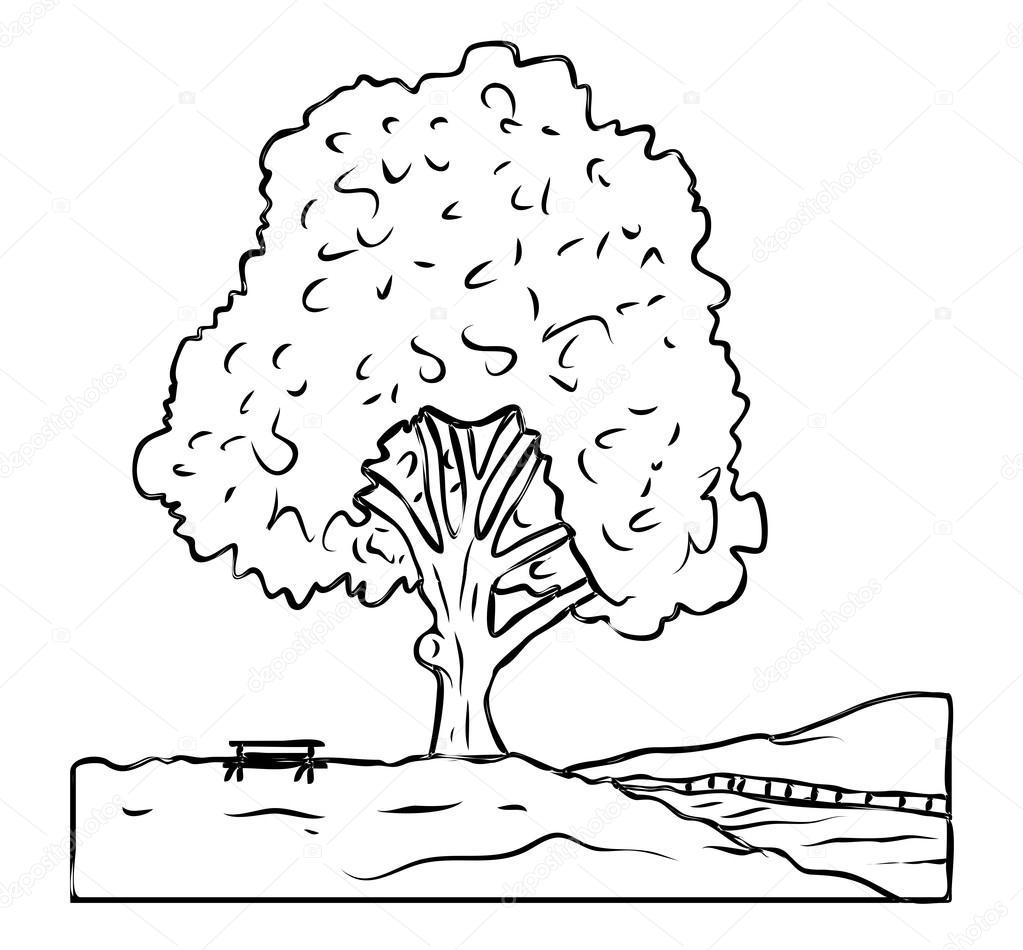 1023x950 Tree Landscape Drawing Stock Vector Baavli