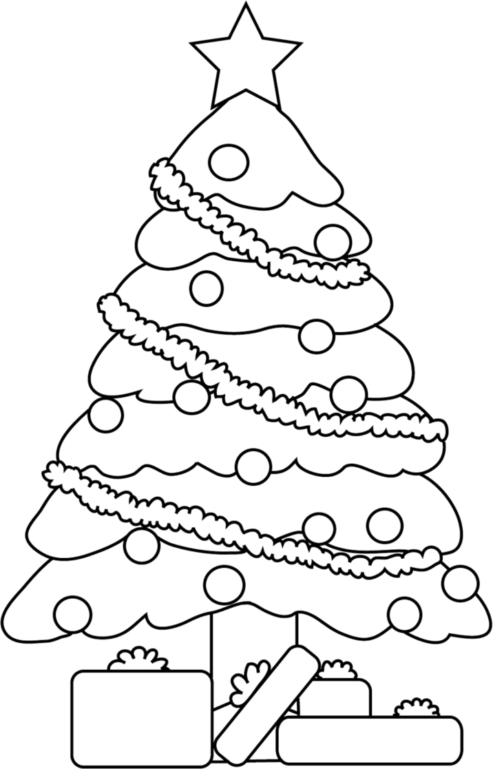 716x1116 Christmas Tree Lineart By Cosmosflurry