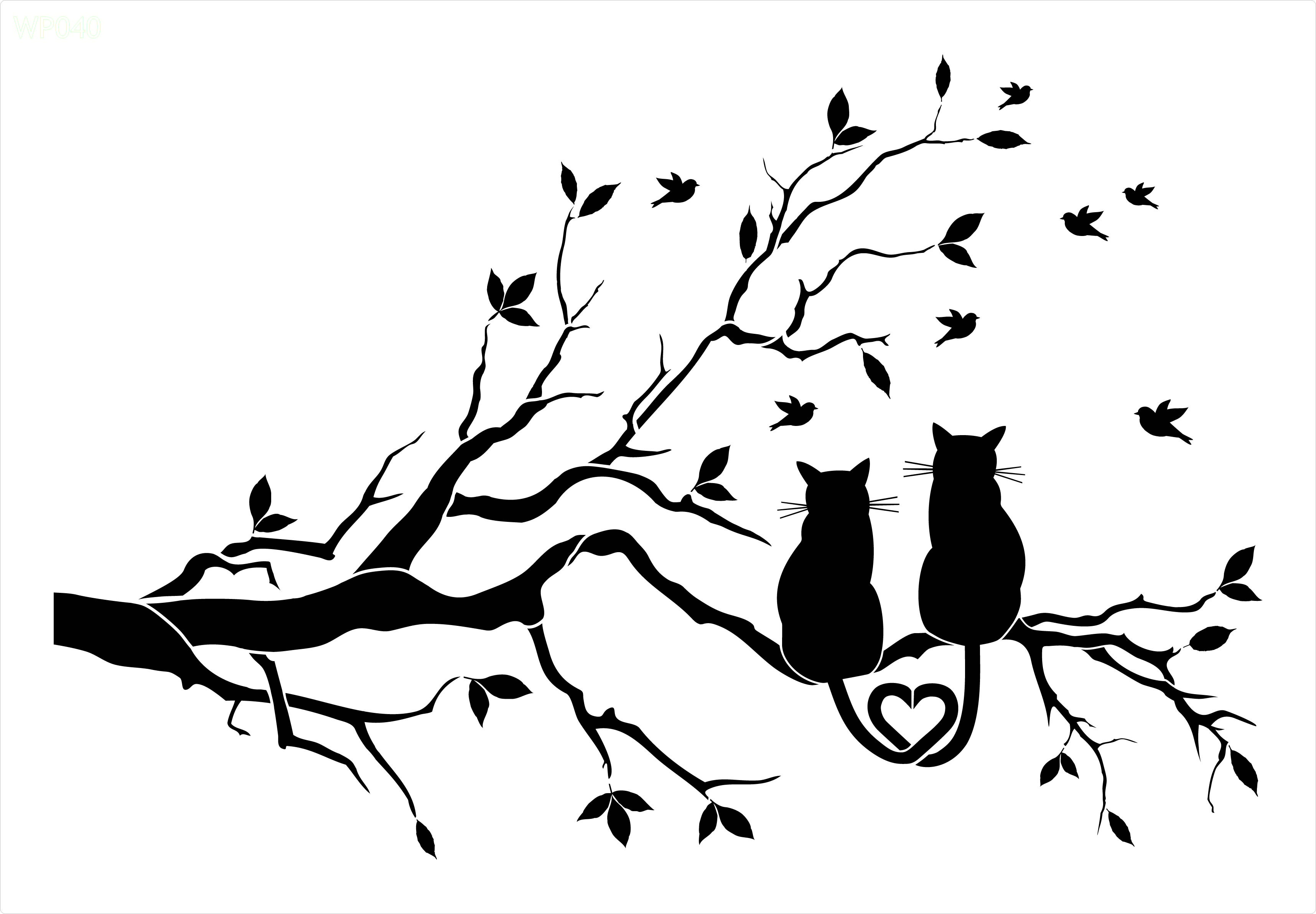 3431x2382 Two Cats In Tree Wall Art Stencil