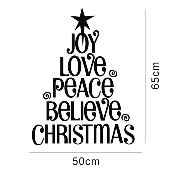 600x600 Words And Quotes Christmas Tree Wall Decal