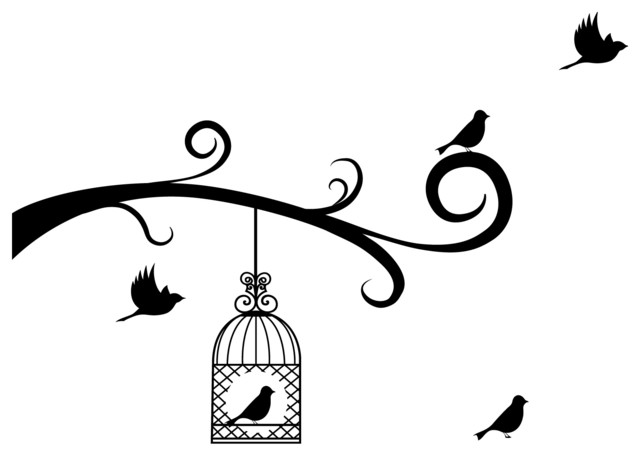 640x456 Bird Cage And Birds With Tree Branches Decal