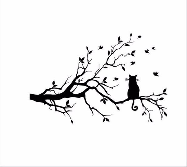 600x535 Cat On A Long Branch Of Tree Wall Sticker Cat Lovers' Store