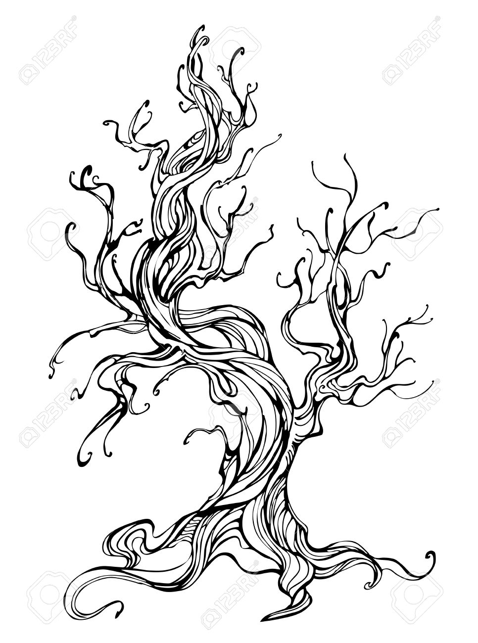 966x1300 Artistically Drawn Old Tree Outline On A White Background. Tattoo