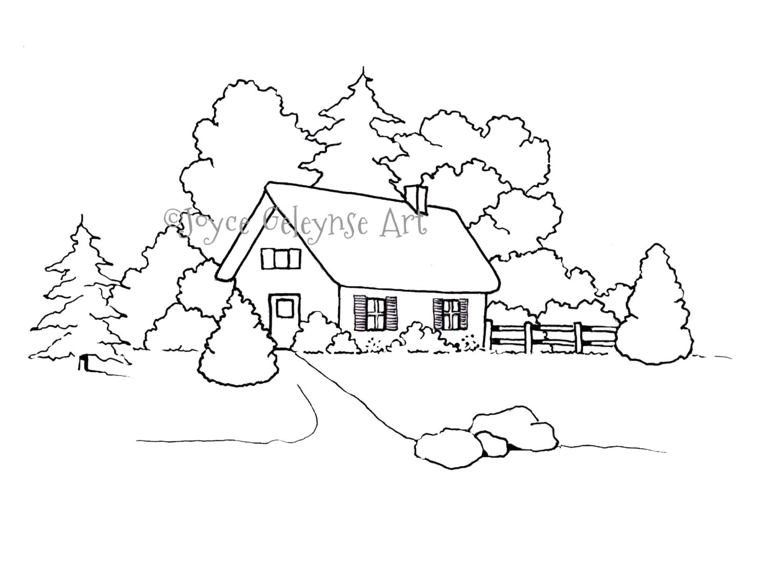 1500x1131 Hand Drawn Coloring Page Coloring For Adults Small House