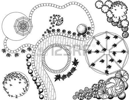450x348 Plan Of Garden With Plant Symbols Royalty Free Cliparts, Vectors