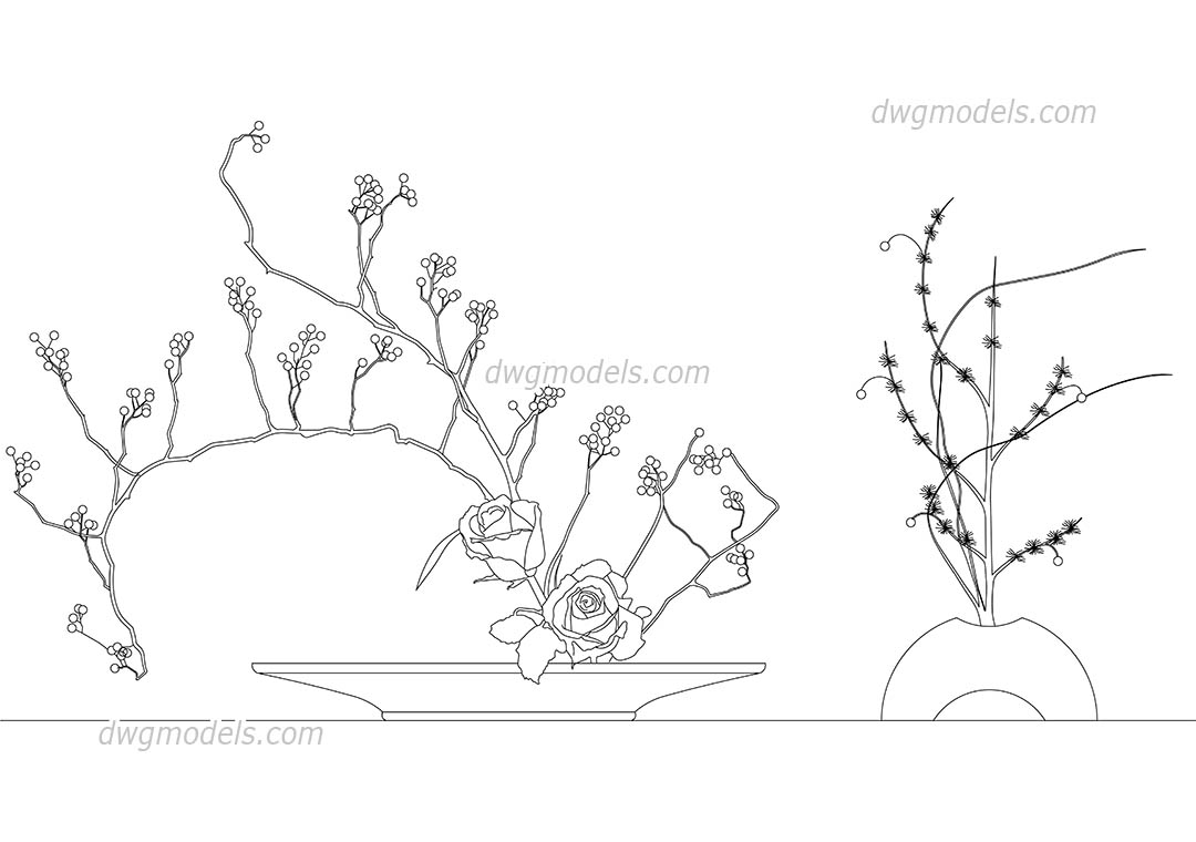 1080x760 Trees And Plants Dwg Models, Free Download