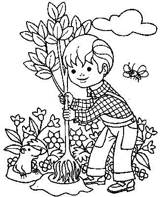 327x400 Kids Coloring Pages Little Boy Is Planting A Tree Gtgt Disney