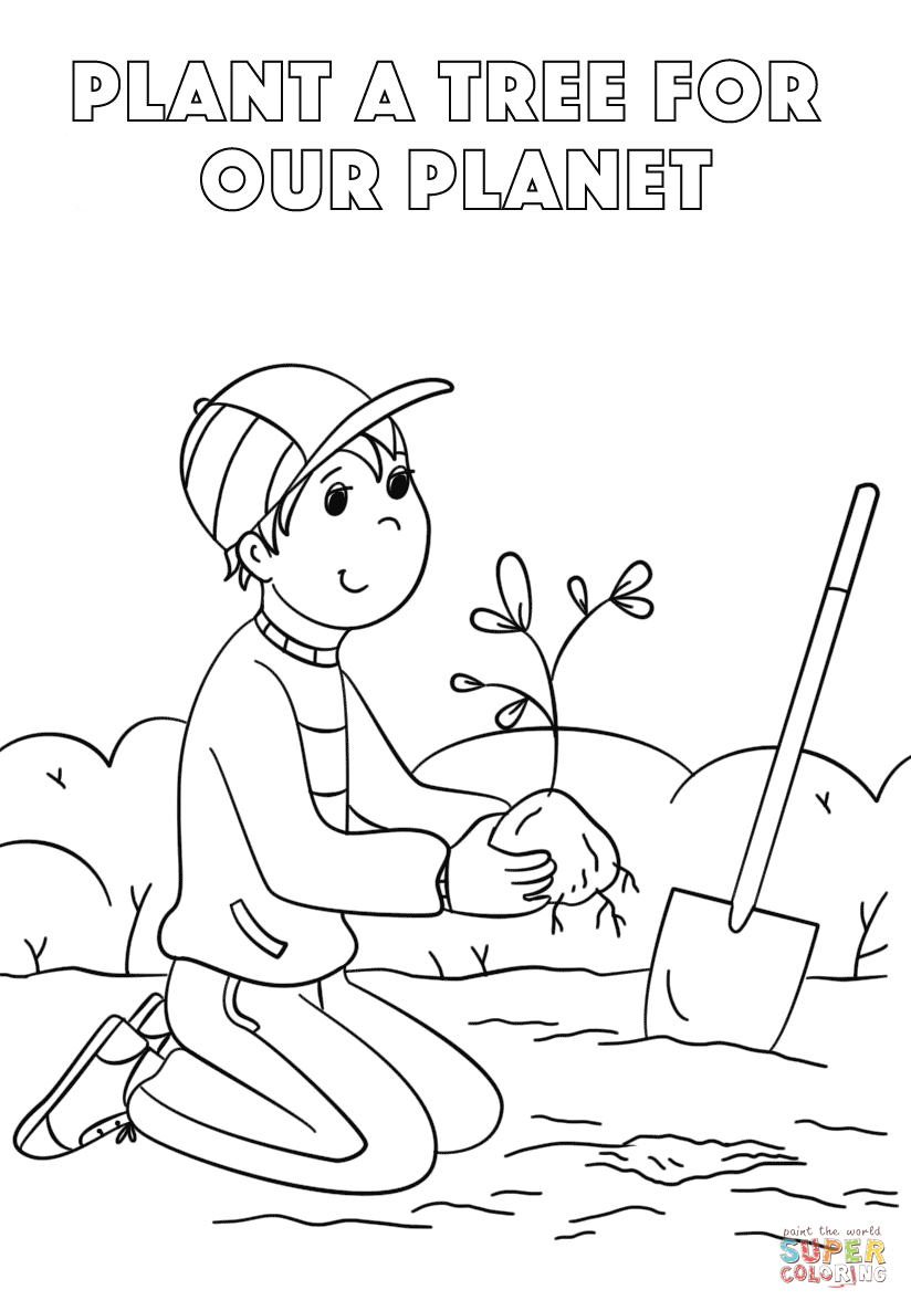 free coloring pages horticulture | Tree Planting Drawing at GetDrawings.com | Free for ...