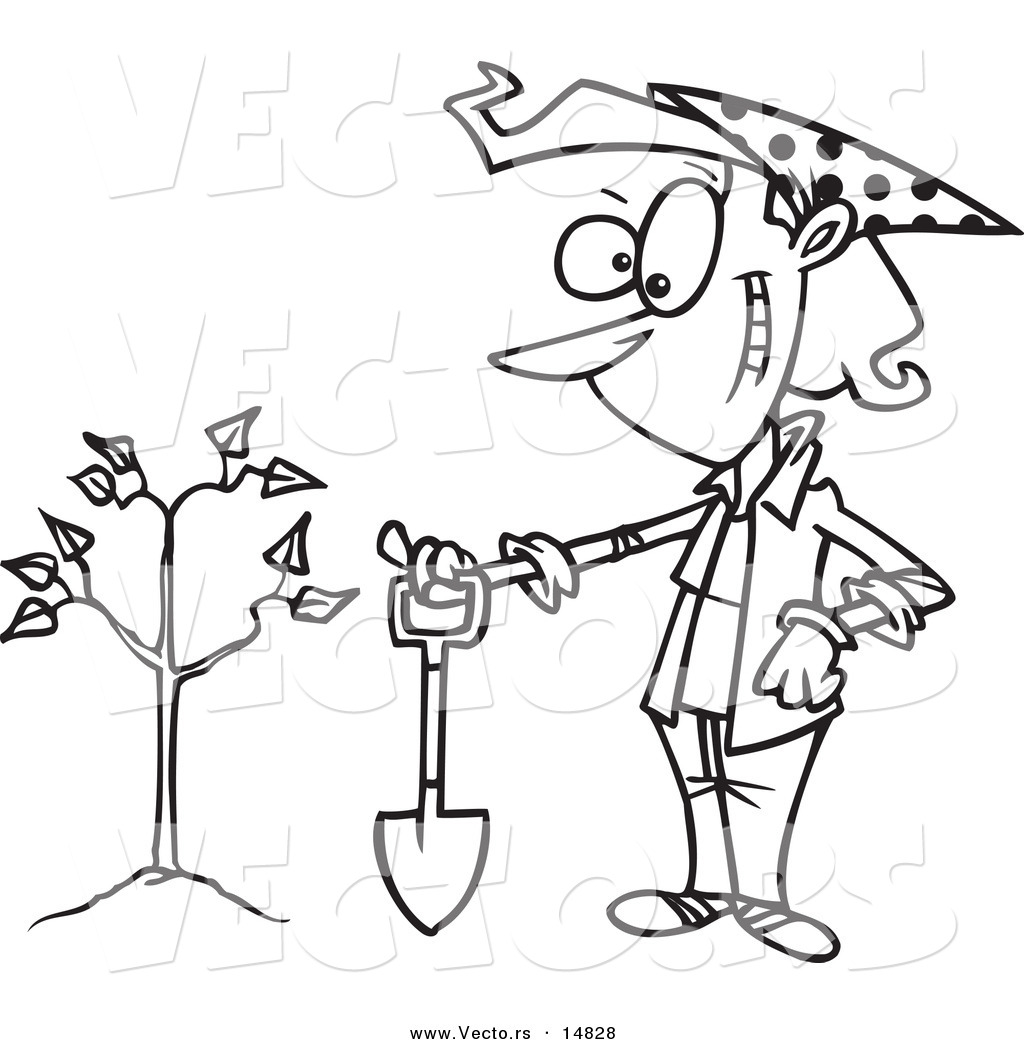 1024x1044 Vector Of A Cartoon Proud Woman With A Shovel By A Newly Planted