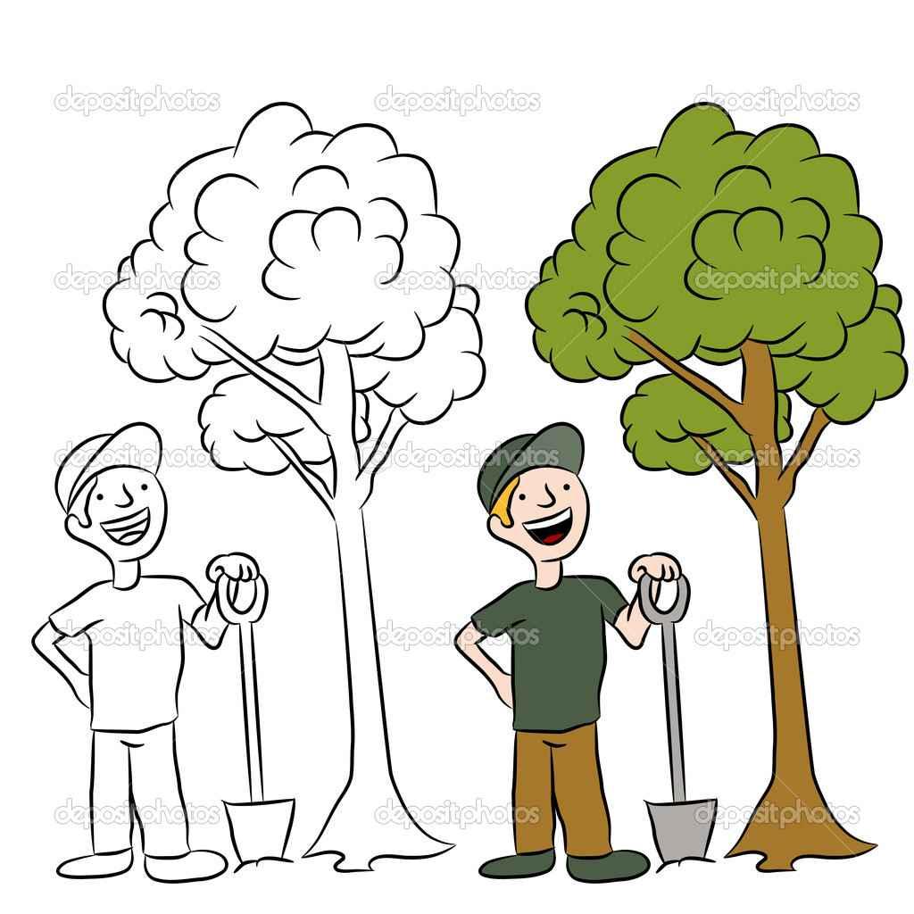1024x1024 Cartoon Man Planting Tree Drawing, Tree Planting Clip Art