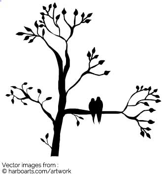335x355 Download Birds in tree silhouette