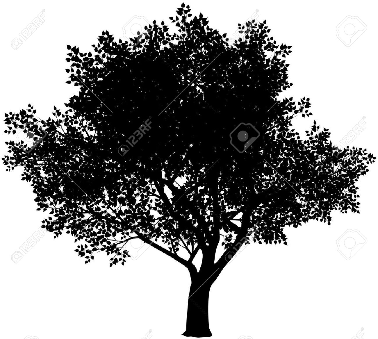 1300x1166 Vector Black And White Tree Silhouette. Eps8. Gradients Free