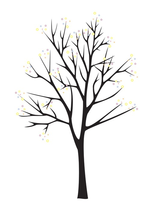 509x700 Black tree silhouette on white background Wall Mural