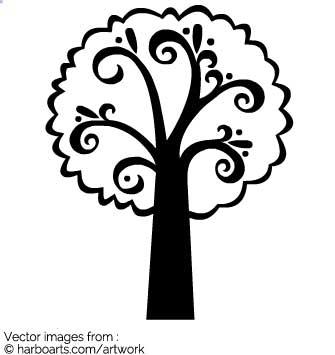 335x355 Download Swirl Tree Silhouette
