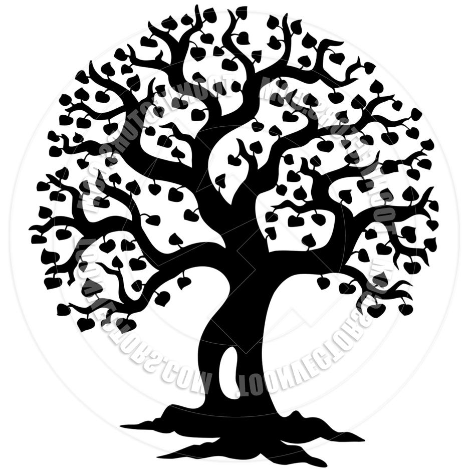 940x940 Unique Oak Tree Silhouette With Roots Toonvectors Images