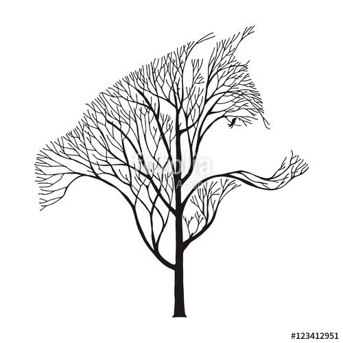 500x500 Wolf Run Silhouette Double Exposure Blend Tree Drawing Tattoo