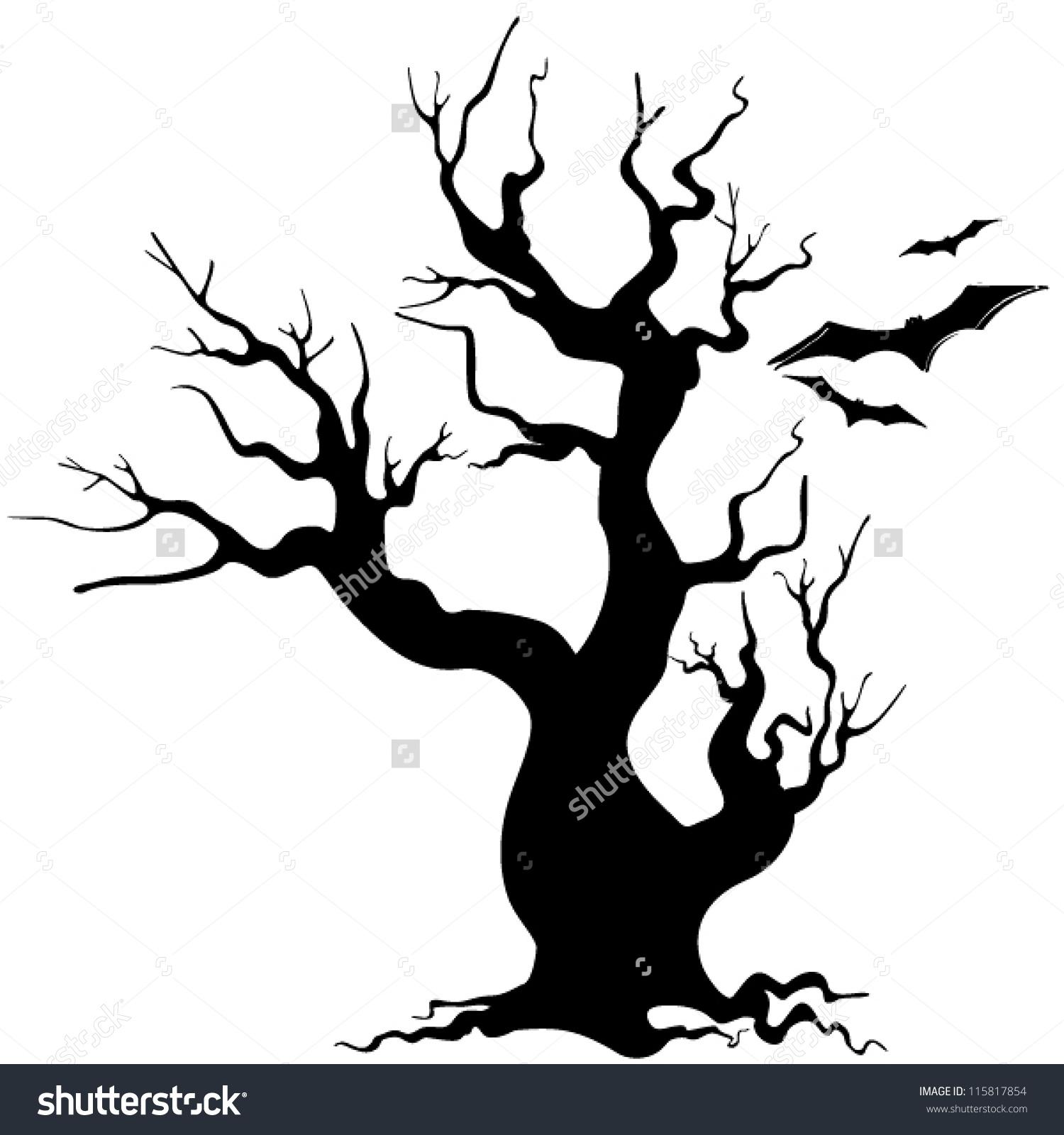 1500x1600 Halloween Tree Silhouette Clipart
