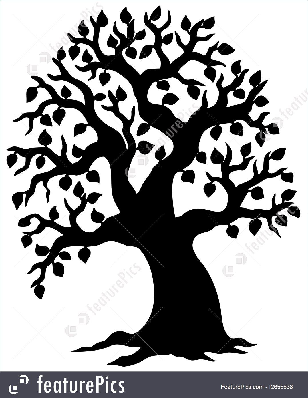 1077x1392 Big Leafy Tree Silhouette Illustration