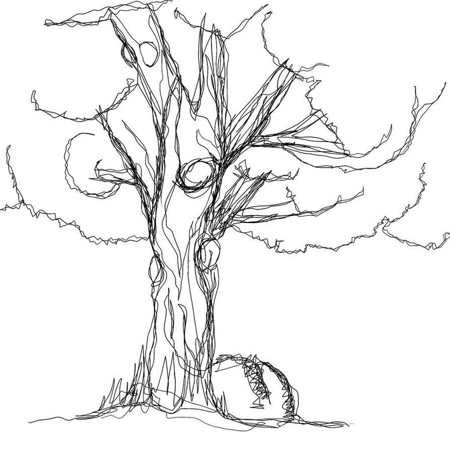 Tree Trunk Line Drawing