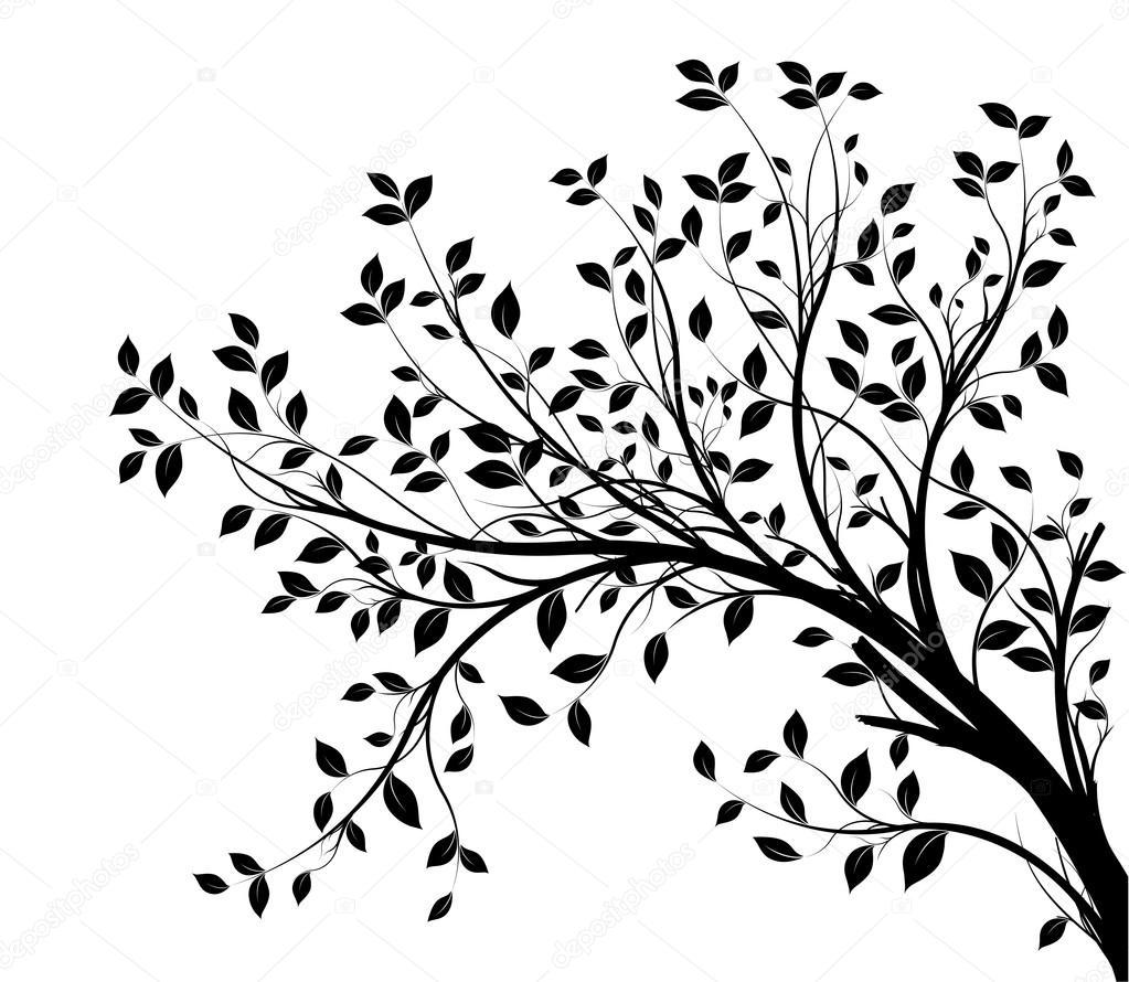 1023x890 Vector Tree Branch, Black Silhouette Stock Vector Olivier26