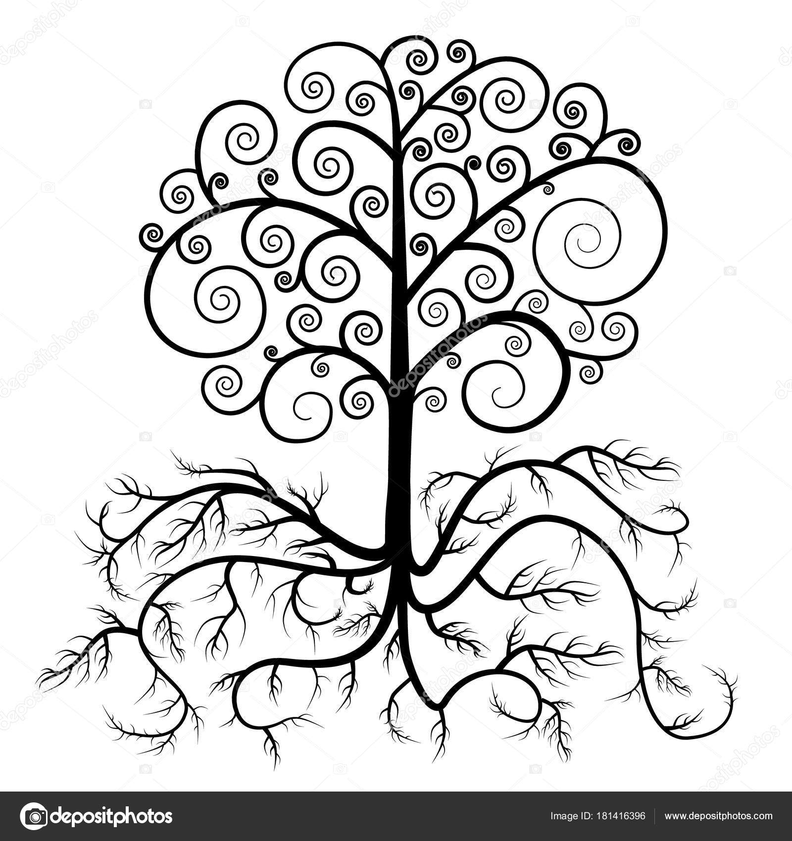 Tree With Roots Drawing