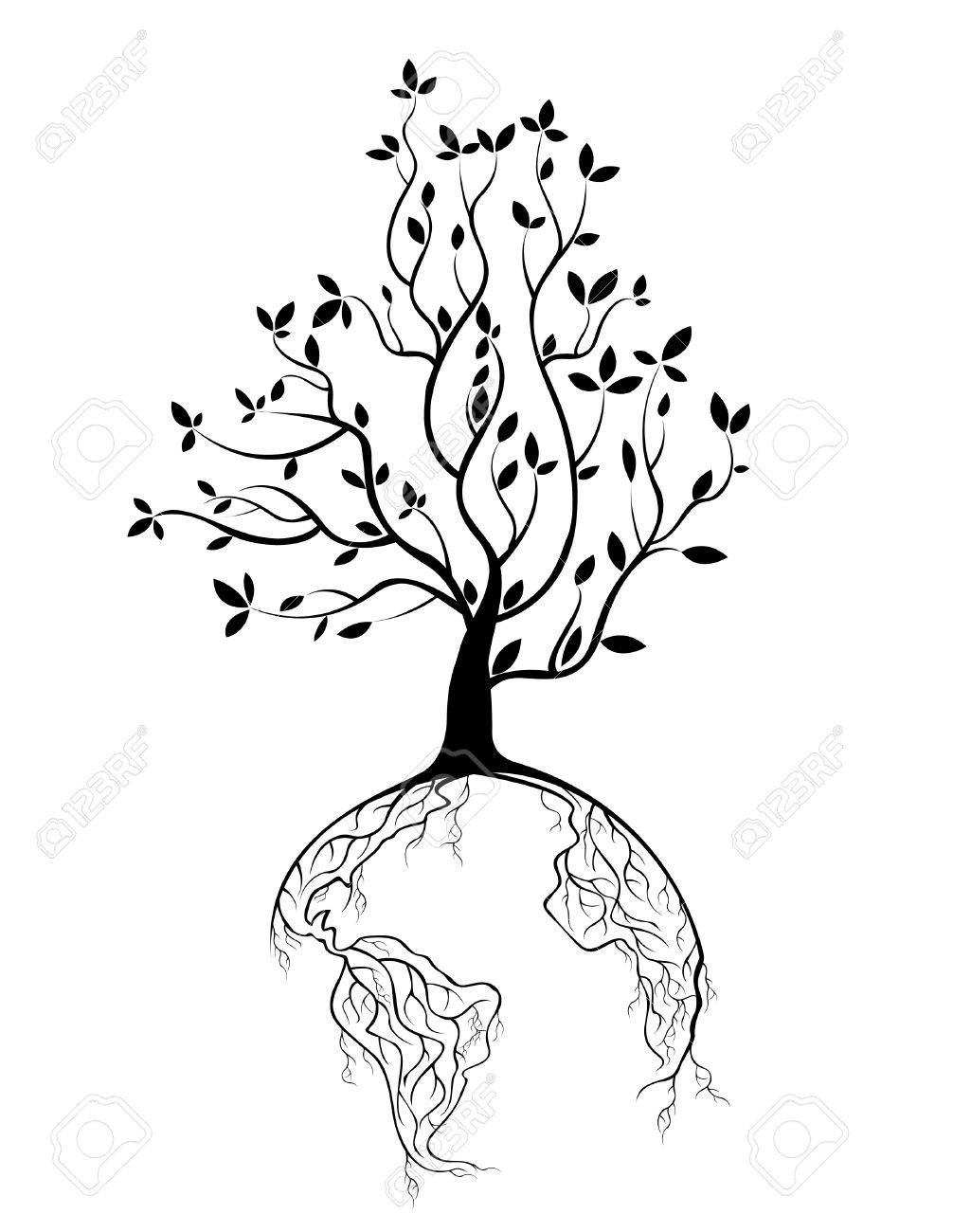 1025x1300 Globe Concept Tree Roots Royalty Free Cliparts, Vectors, And Stock