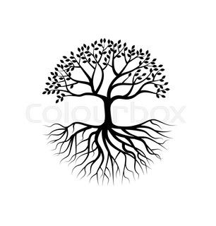 306x320 Illustration Of Tree Holding Globe With Its Roots On Sunburst