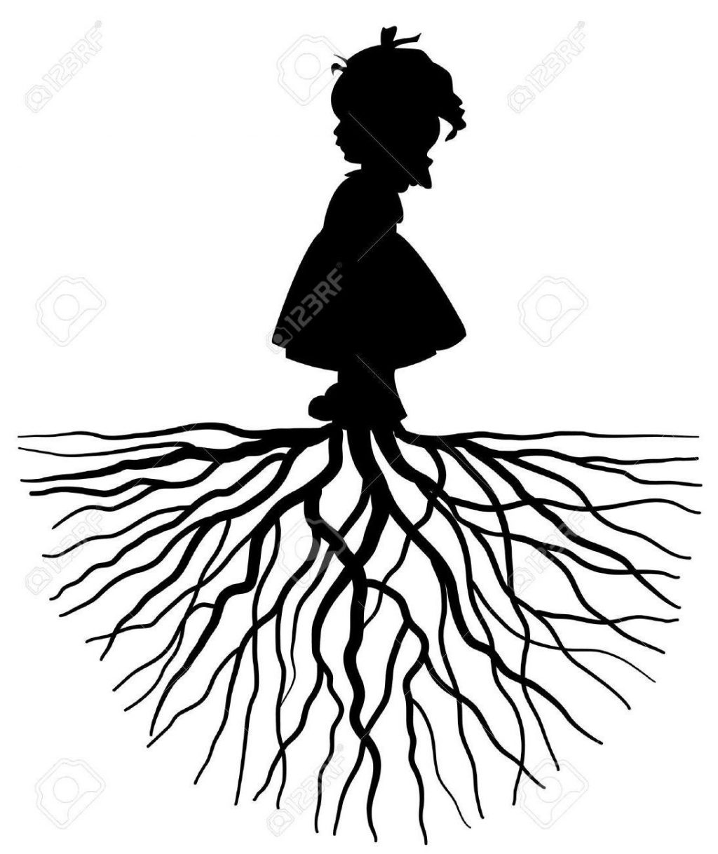 1024x1218 Best 15 Hd The Silhouette Of Girl With Root Stock Vector Tree