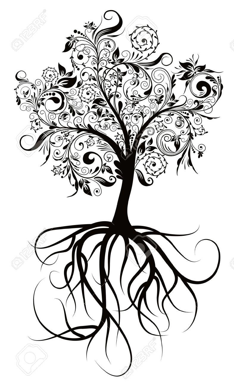 786x1300 Decorative Tree Amp Roots , Vector Illustration Royalty Free