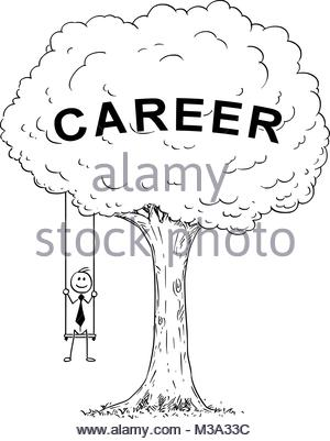 300x401 Cartoon Of Businessman Sitting On The Swing Hanging On The Tree