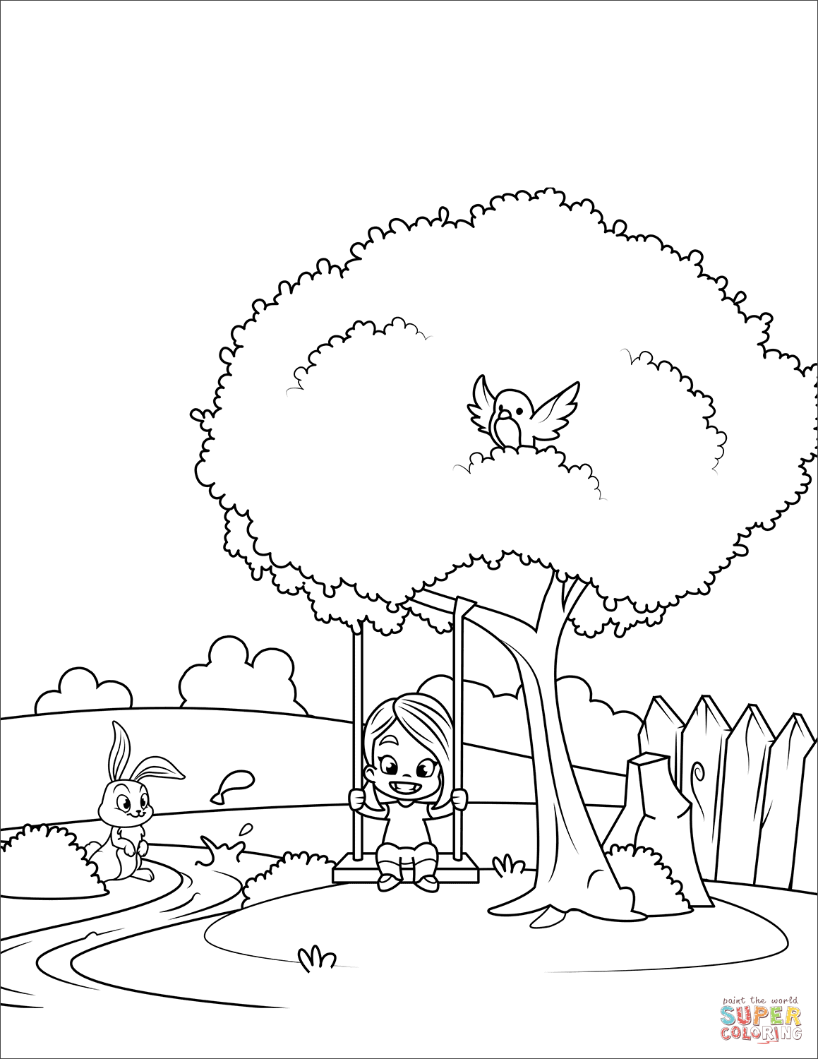 1159x1500 Girl On A Swing Coloring Page Free Printable Coloring Pages