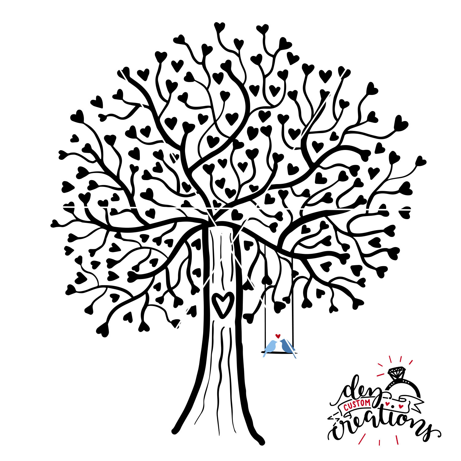 1500x1500 Tree Svg Lovebirds Svg Heart Tree Svg File Tree With Swing