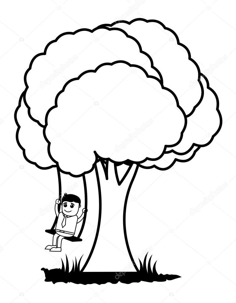 795x1023 Tree Swing Cartoon Vector Stock Vector Baavli