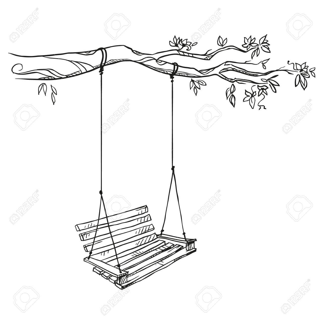 1300x1300 Tree With A Swing. Vector Illustration. Royalty Free Cliparts
