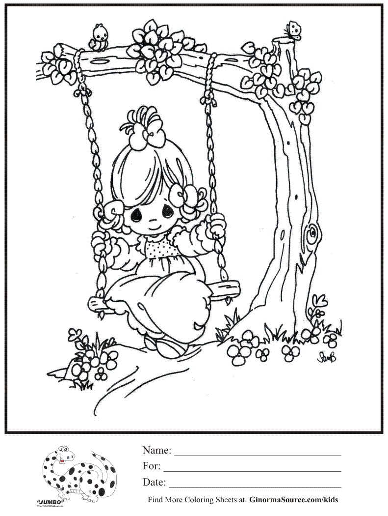 791x1050 Kids Coloring Page Girl Swinging Tree Swing Precious Moments