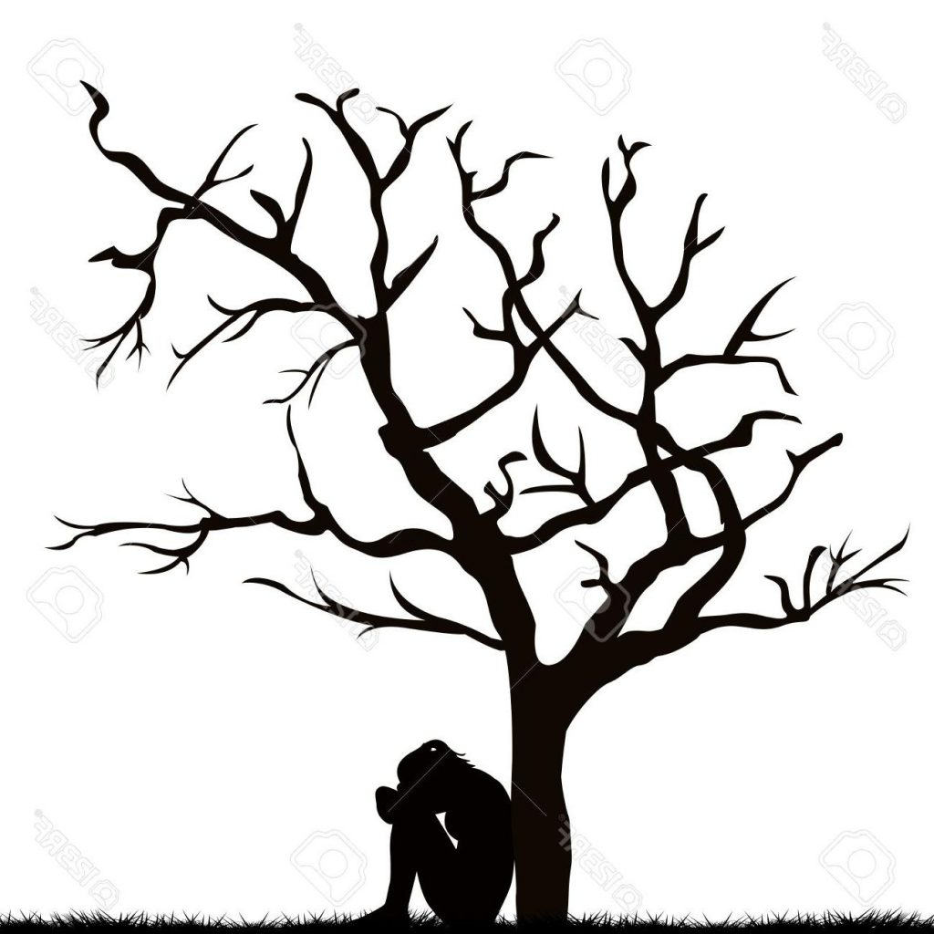 1024x1024 Hd Silhouette Of Sad Young Woman Under Leafless Tree Stock Vector