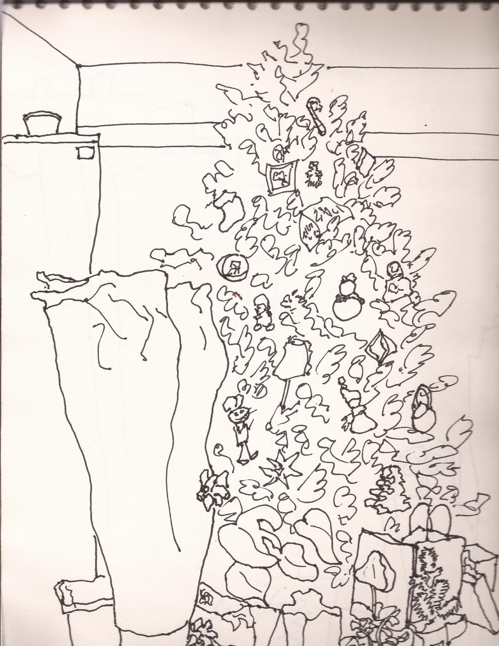 1700x2200 Christmas Tree Line Drawing My Artworks Christmas