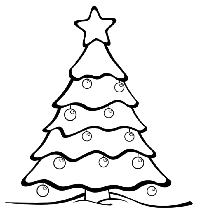 685x721 Christmas Tree Drawing Line Christmas Tree Line Drawing Cliparts