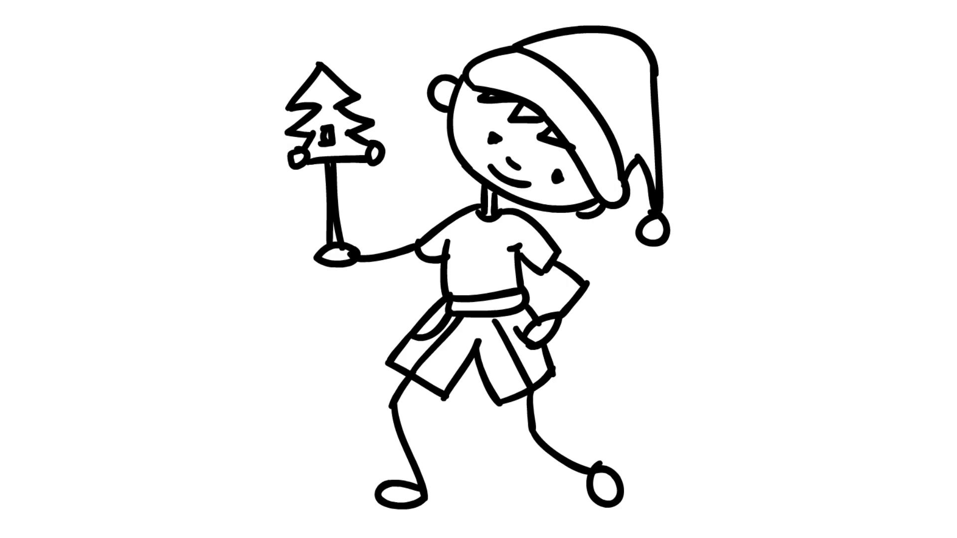 1920x1080 Christmas Kids Playing With Small Christmas Tree Line Drawing