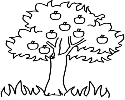 400x322 Cartoon Tree Coloring Black And White Apple