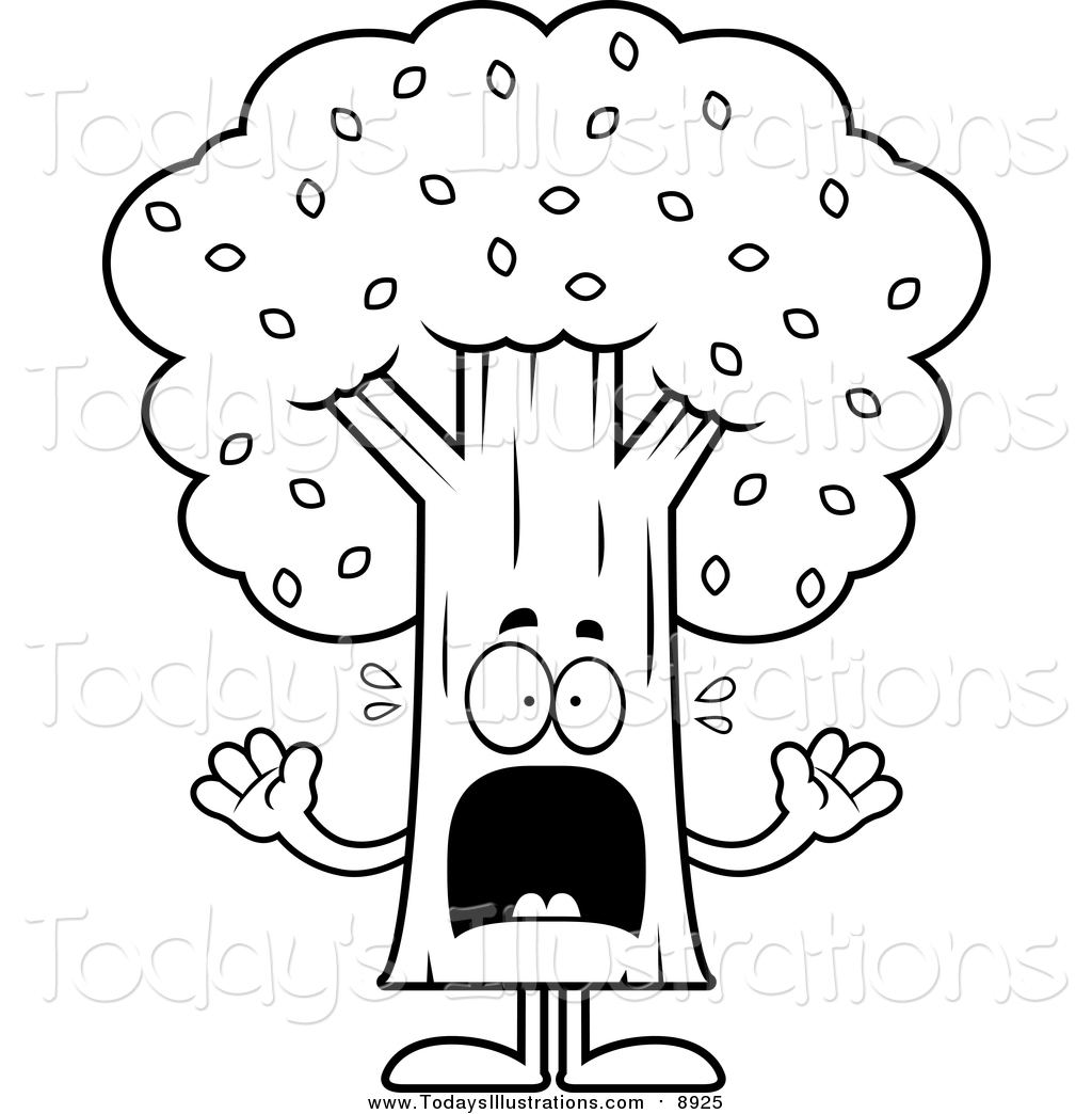 1024x1044 Clipart Of A Black And White Scared Screaming Tree Mascot By Cory