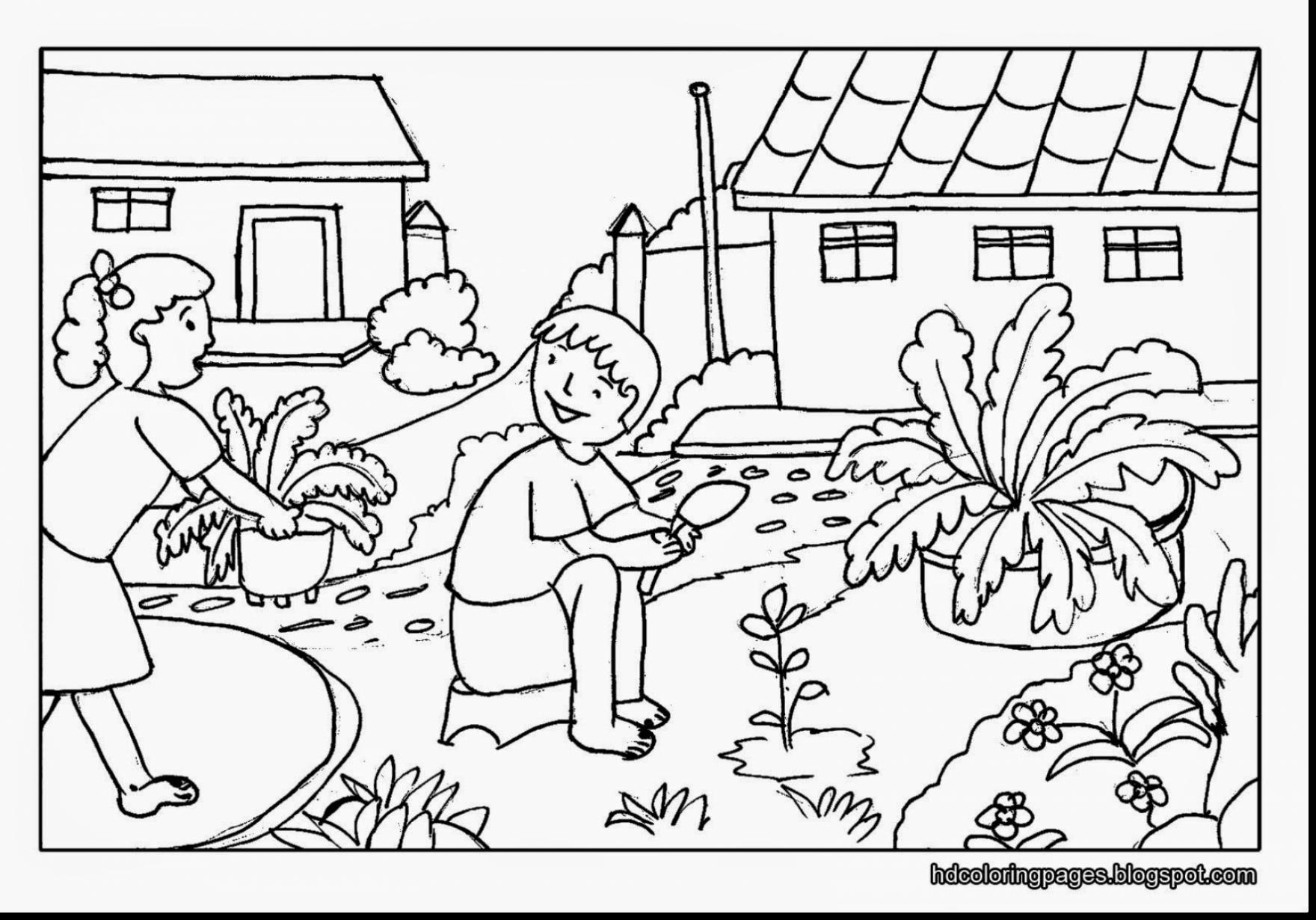 1760x1230 Black And White Drawing Of Garden Coloring Page Free Pages Gardens