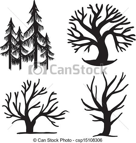 447x470 Clipart Easy Draw Trees