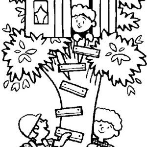 300x300 Enjoyable Treehouse Coloring Pages Tree House Black White Line