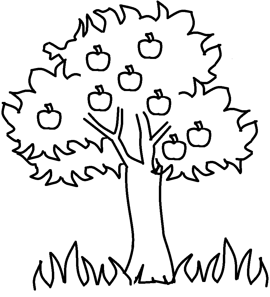 916x1008 Summer Tree Clipart Black And White