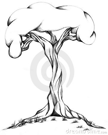 363x450 Gnarled Black Tree Stump Clipart