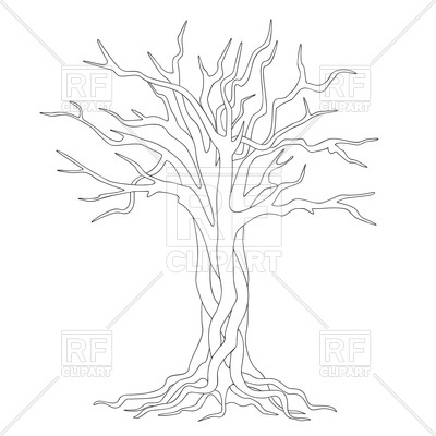 400x400 Hand Drawn Silhouette Tangled Tree With Roots Royalty Free Vector
