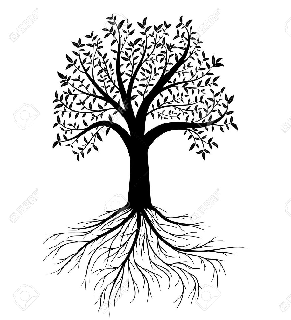 1181x1300 Silhouette Of Tree With Leaves And Roots Royalty Free Cliparts